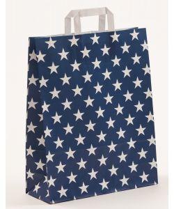 Papiertragetaschen mit Flachhenkel Sterne blau 32 x 12 x 40 cm, 150 Stück