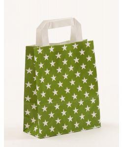 Papiertragetaschen mit Flachhenkel Sterne grün 18 x 8 x 22 cm, 050 Stück