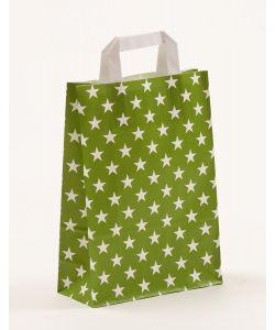 Papiertragetaschen mit Flachhenkel Sterne grün 22 x 10 x 31 cm, 100 Stück