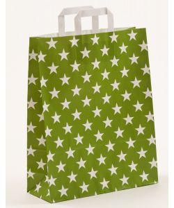 Papiertragetaschen mit Flachhenkel Sterne grün 32 x 12 x 40 cm, 100 Stück