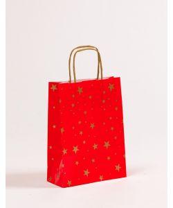 Papiertragetaschen mit gedrehter Papierkordel Weihnachten Sterne 18 x 7 x 24 cm, 050 Stück