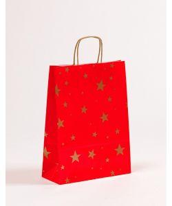 Papiertragetaschen mit gedrehter Papierkordel Weihnachten Sterne 24 x 10 x 31 cm, 050 Stück