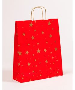 Papiertragetaschen mit gedrehter Papierkordel Weihnachten Sterne 36 x 12 x 41 cm, 100 Stück