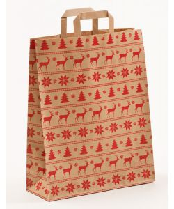 Papiertragetaschen mit Flachhenkel Norweger natur 32 x 12 x 40 cm, 100 Stück