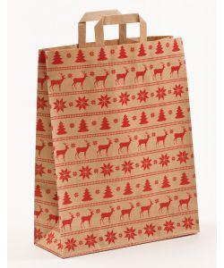 Papiertragetaschen mit Flachhenkel Norweger natur 32 x 12 x 40 cm, 150 Stück