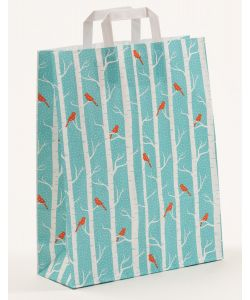 Papiertragetaschen mit Flachhenkel Winterbirds 32 x 12 x 401 cm, 025 Stück