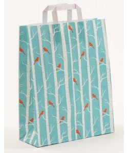 Papiertragetaschen mit Flachhenkel Winterbirds 32 x 12 x 401 cm, 100 Stück