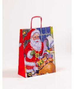 Papiertragetaschen mit gedrehter Papierkordel Weihnachtsmann 24 x 10 x 31 cm, 100 Stück
