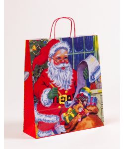 Papiertragetaschen mit gedrehter Papierkordel Weihnachtsmann 36 x 12 x 41 cm, 025 Stück