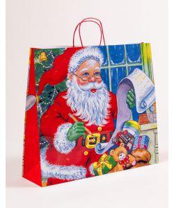 Papiertragetaschen mit gedrehter Papierkordel Weihnachtsmann 54 x 15 x 49 cm, 100 Stück