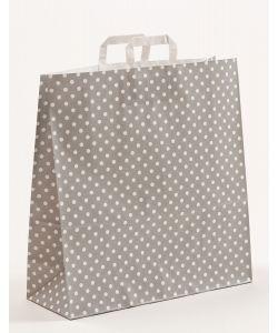 Papiertragetaschen mit Flachhenkel Punkte grau 45 x 17 x 47 cm, 025 Stück