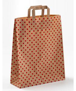 Papiertragetaschen mit Flachhenkel Punkte rot auf braun natur 32 x 12 x 40 cm, 050 Stück