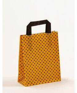 Papiertragetaschen mit Flachhenkel Punkte gelb/schwarz 18 x 8 x 22 cm, 050 Stück