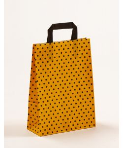 Papiertragetaschen mit Flachhenkel Punkte gelb/schwarz 22 x 10 x 31 cm, 200 Stück