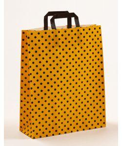 Papiertragetaschen mit Flachhenkel Punkte gelb/schwarz 32 x 12 x 40 cm, 100 Stück