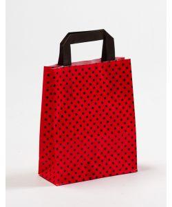Papiertragetaschen mit Flachhenkel Punkte rot/schwarz 18 x 8 x 22 cm, 050 Stück