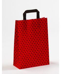 Papiertragetaschen mit Flachhenkel Punkte rot/schwarz 22 x 10 x 31 cm, 100 Stück