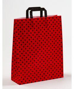 Papiertragetaschen mit Flachhenkel Punkte rot/schwarz 32 x 12 x 40 cm, 200 Stück