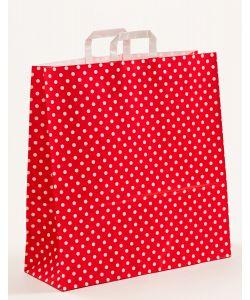 Papiertragetaschen mit Flachhenkel Punkte rot 45 x 17 x 47 cm, 50 Stück
