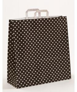 Papiertragetaschen mit Flachhenkel Punkte schwarz 45 x 17 x 47 cm, 150 Stück