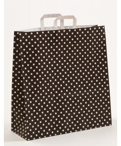 Papiertragetaschen mit Flachhenkel Punkte schwarz 45 x 17 x 47 cm, 100 Stück