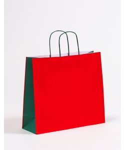 Papiertragetaschen mit gedrehter Papierkordel rot/grün 36 x 12 x 31 cm, 150 Stück