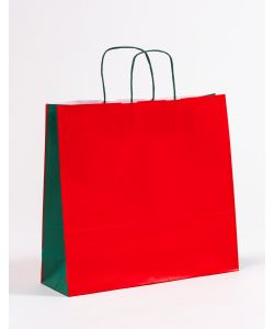 Papiertragetaschen mit gedrehter Papierkordel rot/grün 40 x 12 x 36 cm, 025 Stück
