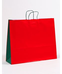 Papiertragetaschen mit gedrehter Papierkordel rot/grün 54 x 15 x 44 cm, 100 Stück