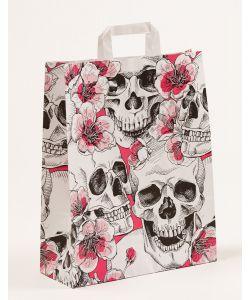 Papiertragetaschen mit Flachhenkel Skulls & Flowers 32 x 12 x 40 cm, 100 Stück