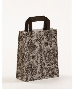 Papiertragetaschen mit Flachhenkel Spitze schwarz 18 x 8 x 22 cm, 150 Stück