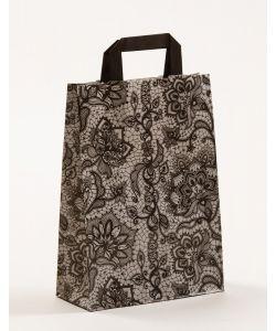 Papiertragetaschen mit Flachhenkel Spitze schwarz 22 x 10 x 31 cm, 025 Stück