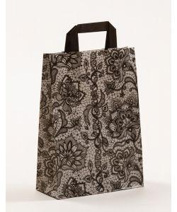 Papiertragetaschen mit Flachhenkel Spitze schwarz 22 x 10 x 31 cm, 200 Stück