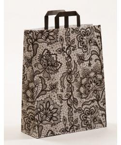 Papiertragetaschen mit Flachhenkel Spitze schwarz 32 x 12 x 40 cm, 050 Stück