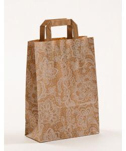 Papiertragetaschen mit Flachhenkel Spitze weiß 22 x 10 x 31 cm, 100 Stück