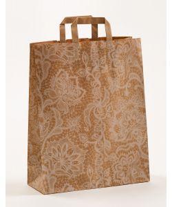 Papiertragetaschen mit Flachhenkel Spitze weiß 32 x 12 x 40 cm, 100 Stück