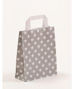 Papiertragetaschen mit Flachhenkel Sterne grau 18 x 8 x 22 cm, 025 Stück