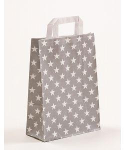 Papiertragetaschen mit Flachhenkel Sterne grau 22 x 10 x 31 cm, 250 Stück
