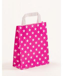 Papiertragetaschen mit Flachhenkel Sterne pink 18 x 8 x 22 cm, 100 Stück
