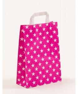 Papiertragetaschen mit Flachhenkel Sterne pink 22 x 10 x 31 cm, 200 Stück