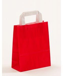 Papiertragetaschen mit Flachhenkel rot 18 x 8 x 22 cm, 200 Stück