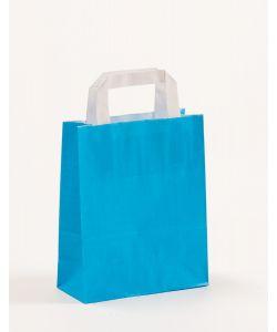 Papiertragetaschen mit Flachhenkel blau 18 x 8 x 22 cm, 050 Stück