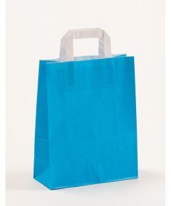 Papiertragetaschen mit Flachhenkel blau 22 x 10 x 28 cm, 050 Stück