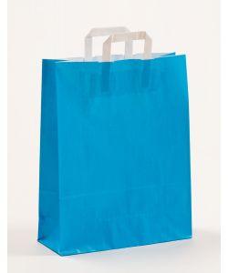 Papiertragetaschen mit Flachhenkel blau 32 x 12 x 40 cm, 050 Stück