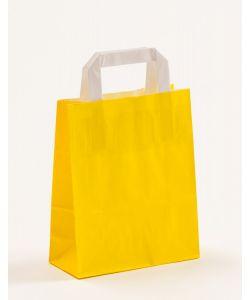 Papiertragetaschen mit Flachhenkel gelb 18 x 8 x 22 cm, 250 Stück