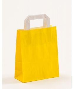 Papiertragetaschen mit Flachhenkel gelb 18 x 8 x 22 cm, 100 Stück