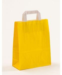 Papiertragetaschen mit Flachhenkel gelb 22 x 10 x 28 cm, 200 Stück