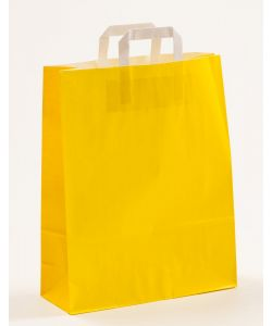 Papiertragetaschen mit Flachhenkel gelb 32 x 12 x 40 cm, 025 Stück