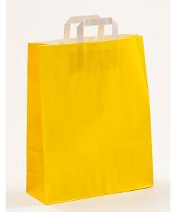 Papiertragetaschen mit Flachhenkel gelb 32 x 12 x 40 cm, 100 Stück