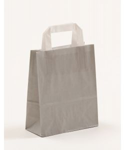 Papiertragetaschen mit Flachhenkel grau 18 x 8 x 22 cm, 050 Stück