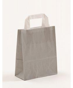 Papiertragetaschen mit Flachhenkel grau 18 x 8 x 22 cm, 100 Stück